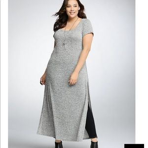 Sweater Maxi Dress with High Slit